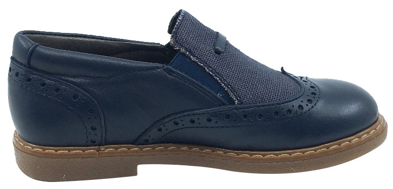 BluBlonc Boy's & Girl's Navy Leather with Linen Textile Middle Moc Oxford Shoe