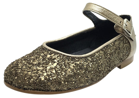 Zubii Girl's Old Gold Glitter Leather Mary Jane Flats with Buckle and Trim