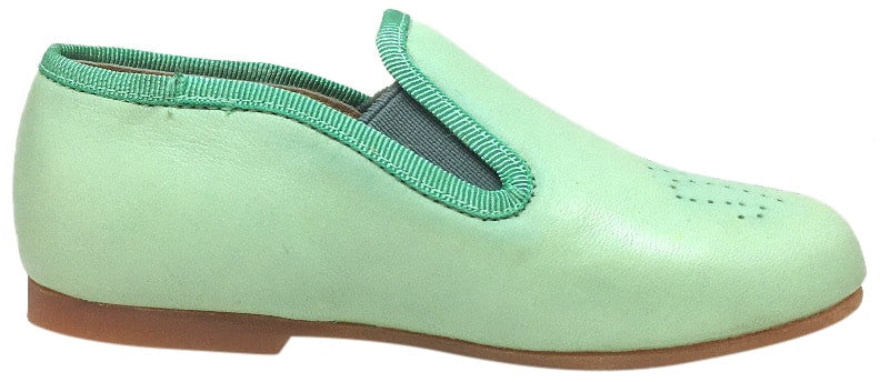 Luccini Girl's Mint Aqua Leather Perforated Detail Slip On Loafer Flats