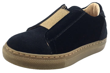 Fascani Boy's and Girl's Slip-On Sneaker Shoes, Black Velvet/Gold