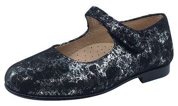 Hoo Shoes Hoova Girl's Mary Jane, Black/Silver Metallic Marble