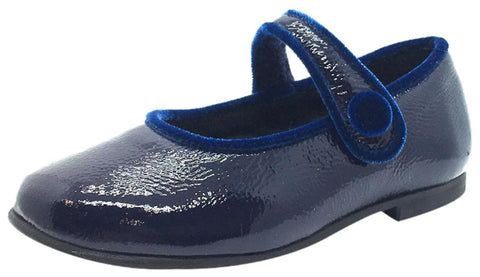 Luccini Girl's Navy Patent Crinkle Leather Mary Jane Flats with Trim