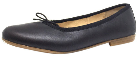 Old Soles Girl's 400 Black Leather Brule Flat