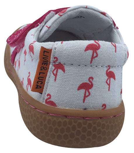 Livie & Luca Girl's Peppy Flamingo Printed White Textile Mary Jane with Double Hook and Loop Straps Flat Shoe