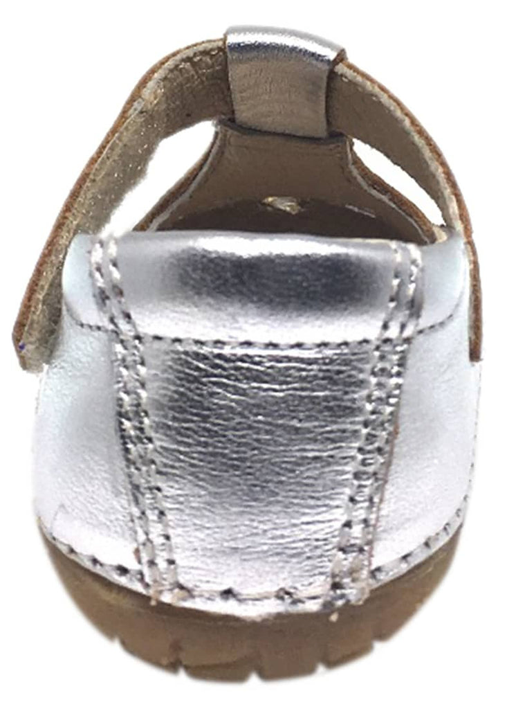 Old Soles Girl's Pave Petal Silver Leather T-Strap Hook and Loop Floral Mary Jane Walking Shoe