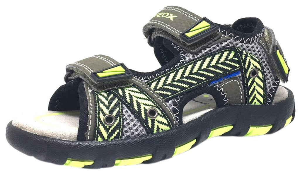 Geox Boy's Pianeta Military Green & Lime Single Hook and Loop Strap Open Toe Sandal