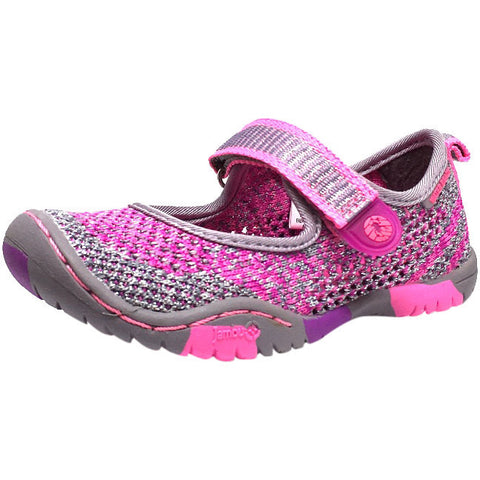Jambu Girl's Sora Sparkle Knit Mesh Hook and Loop Water Ready Mary Jane Shoe inches - Just Shoes for Kids  - 1