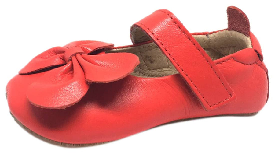 Old Soles Girl's Bright Red Leather Gab Bow Hook and Loop Mary Jane Crib Walker Baby Shoe