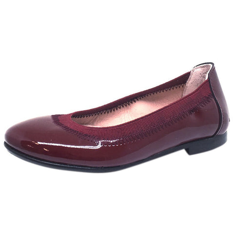 Chupetin 9315 Burgundy Patent Leather Elastic Slip On Ballet Flats