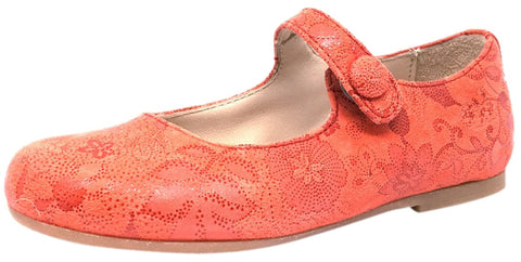 Manuela de Juan Mimi Red Floral Leather Snap Mary Jane Flat Shoe