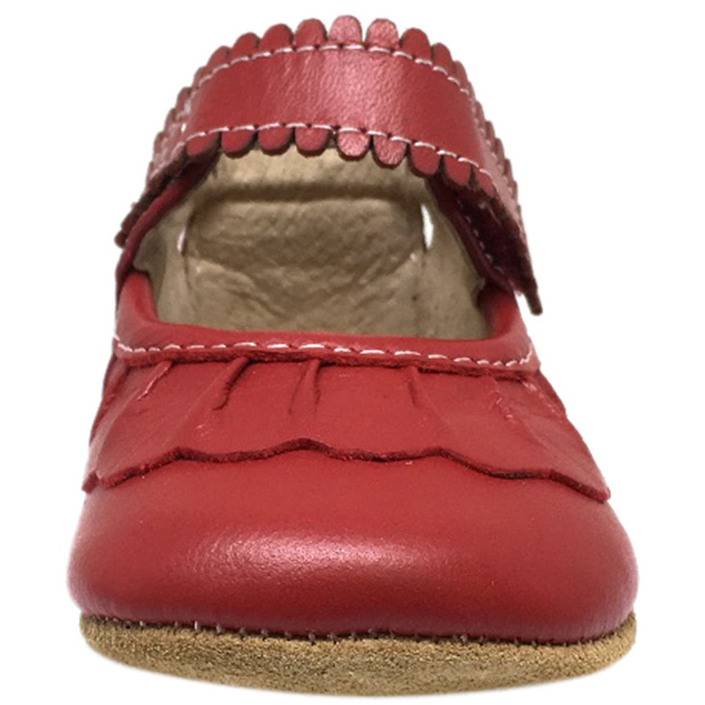 Livie & Luca Girl's Ruche Ruffled Leather Hook and Loop Mary Jane Shoe Red - Just Shoes for Kids  - 4
