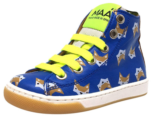 MAA Boy's and Girl's Blue Leather Fox Print Lace Up High Top Sneakers