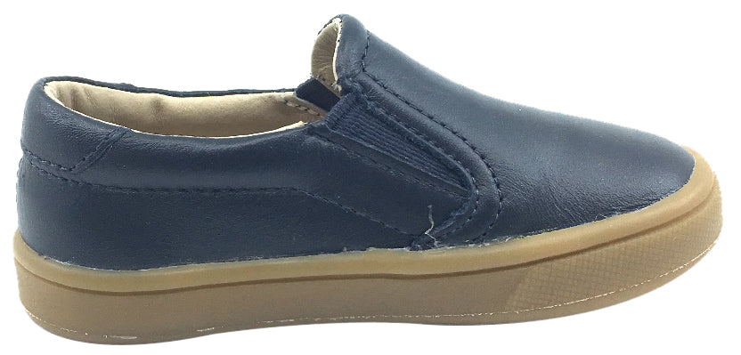 Old Soles Girl's and Boy's 6010 Dress Hoff Navy Smooth Leather Slip On Loafer Sneaker