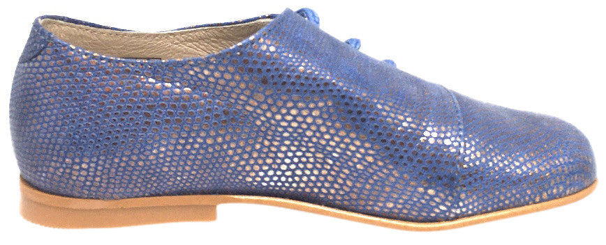 Luccini Girl's & Boy's Periwinkle Blue Gold Leather Metallic Snake Side Lace Up Oxford Loafer Shoes