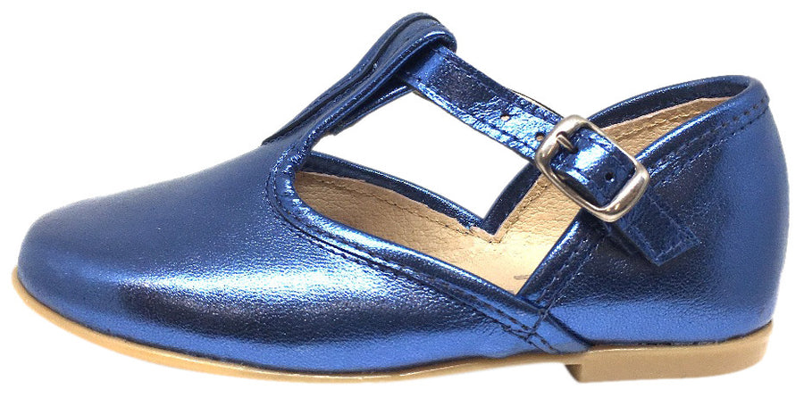 Hoo Shoes Chloe's Bright Cobalt Blue Metallic T-Strap Adjustable Buckle Mary Jane Flats