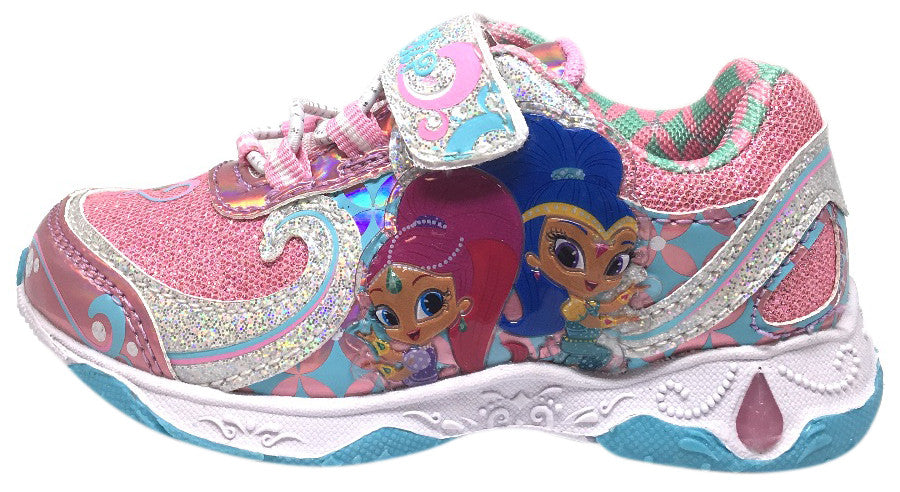 Nickelodeon Shimmer and Shine Blue Pink Girl's Sparkle Light Up Hook and Loop Elastic Lace Sneakers