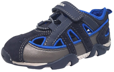 Geox Boy's Aragon Navy & Royal Blue Single Hook and Loop Strap Closed Toe with Bumper and Elastic Lace Sandal