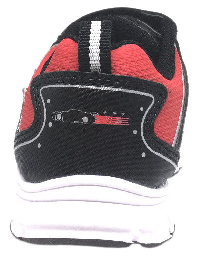 Disney Pixar Boy's Black Red Cars Light Up Hook and Loop Elastic Lace Sneakers
