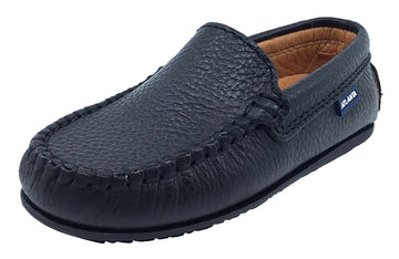 Atlanta Mocassin Boy's Pebbled Leather Loafers, Black