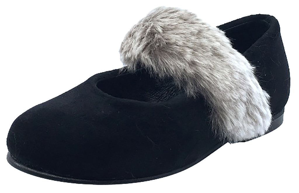 Luccini Girl's Slip-On Mary Jane with Fur Trim (Black Suede)