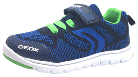 Geox Boy's Xunday Navy Blue Green Lightweight Textile Hook and Loop Strap Elastic Lace Sporty Low Top Breathable Sneaker
