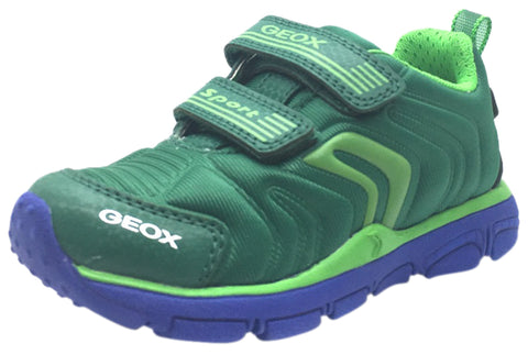 Geox Boy's Torque Green Double Hook and Loop Strap Sporty Low Top Breathable Sneaker