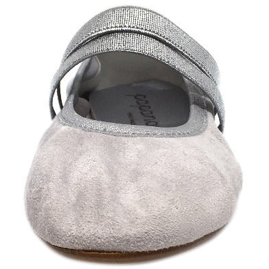 Papanatas by Eli Girl's Silver Grey Double Elastic Soft Suede Slip On Mary Jane Ballet Flats - Just Shoes for Kids  - 3