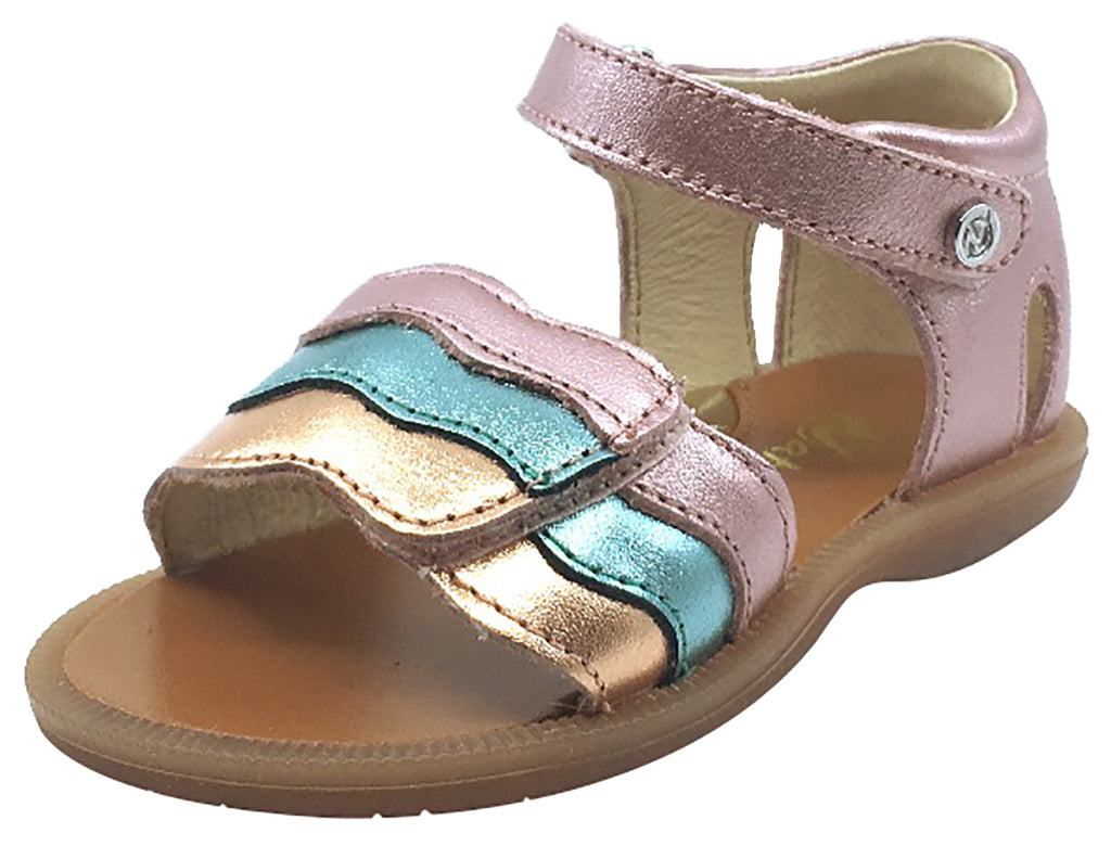 Naturino Girl's Metallic Rainbow Sandals with Hook and Loop Strap