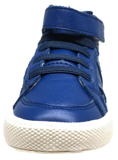 Old Soles Boy's and Girl's Star Jumper Cobalt Blue Leather Elastic Lace Hook and Loop High Top Sneaker