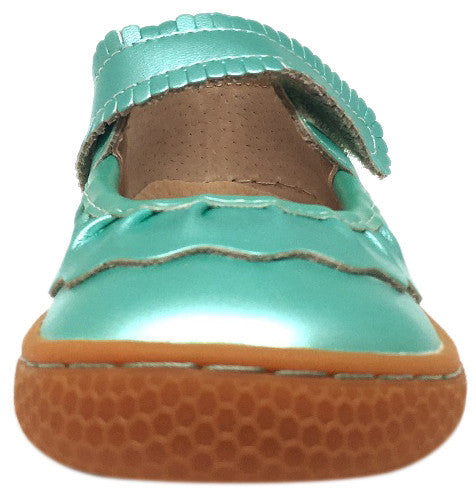 Livie & Luca Girl's Ruche Ruffled Aqua Shimmer Leather Hook and Loop Mary Jane Shoe