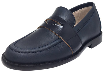Hoo Shoes Boy's Abe's Keeper Navy and Black Smooth Leather Slip On Oxford Loafer Shoe