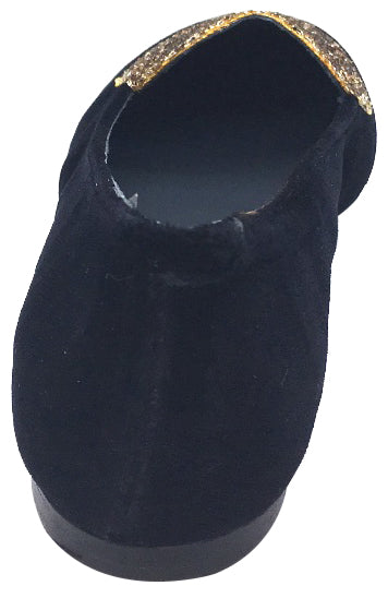 BluBlonc Black Velvet Ballet Flat with Gold Sparkle Heart Embellishment