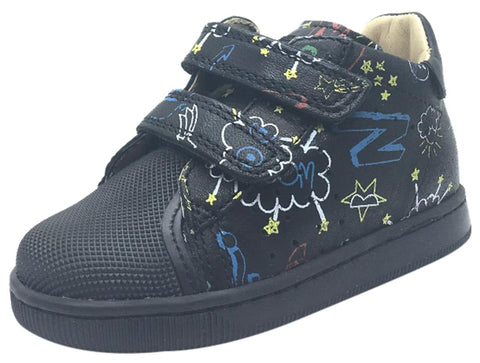 Naturino Boy's and Girl's 9121 Black Falcotto Star Space Planet Leather Hook and Loop Sneakers