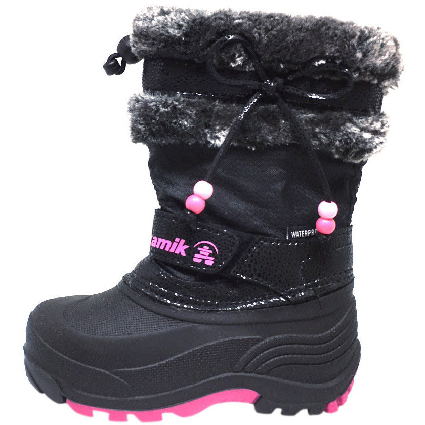 Kamik Plume Kid's Faux Fur Lined Waterproof Snow Protection Warm Winter Snow Boots inches - Just Shoes for Kids  - 2