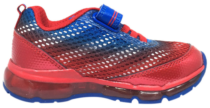 Geox Respira Boy's Android Royal Blue & Red Mesh Light Up Double Hook and Loop Sneaker