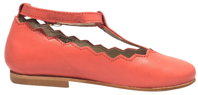 Luccini Coral Leather Zig Zag Edge Trim T-Strap Ankle Adjustable Buckle Mary Jane Flat