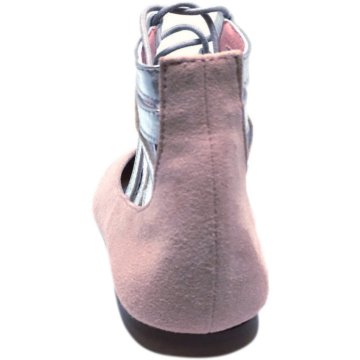 Papanatas by Eli Girl's Taupe Soft Suede Metallic Ankle Strap Ballet Flat Mary Jane 35 EU / 3 M US Little Kid - Just Shoes for Kids  - 4