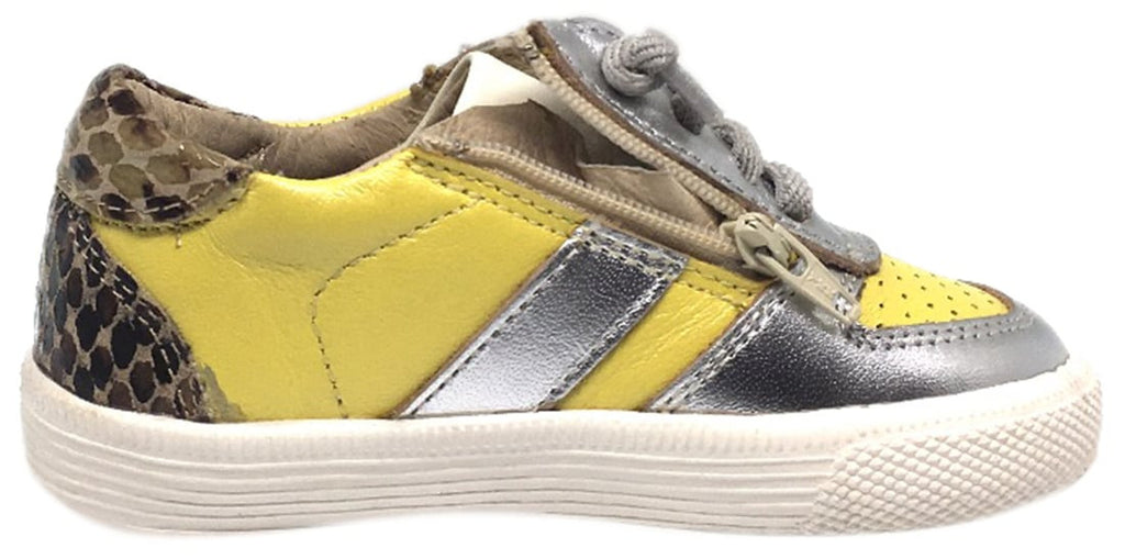Old Soles Boy's and Girl's Lemon Silver Leather Urban Code Lace Up Tri Colored Sneaker Shoe