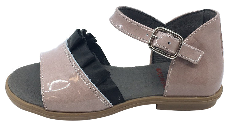 BluBlonc Girl's Rose Pink Patent Leather with Black Ruffle Sandal Flat