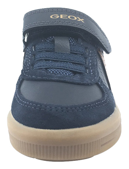 Geox Boy's J Arzach Double Velcro Hook and Loop Sneaker Shoes, Navy/Brown