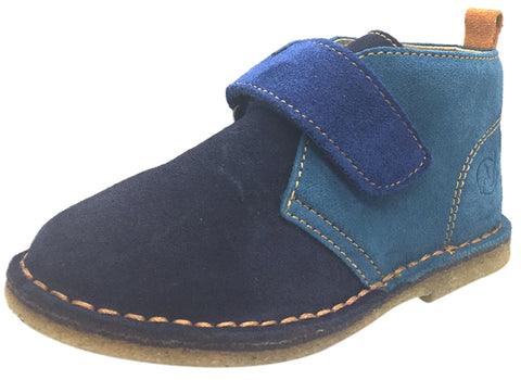 Naturino Boy's Navy & Blue Suede Classic Thick Single Hook and Loop Chukka Boot