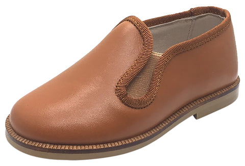 Hoo Shoes Boy's & Girl's Tan Smooth Leather Lined Smoking Loafer Flats