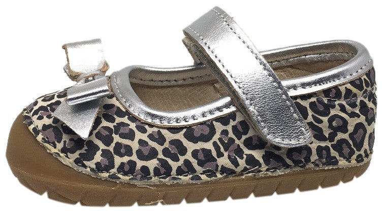 Old Soles Girl's Pave Gabs Jane Cat Print with Silver Leather Hook and Loop Bow Mary Jane Walking Shoe