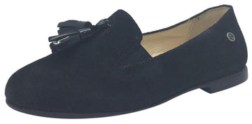 Naturino Girl's and Boy's 9201 Black Smooth Suede Upper Tassel Slip On Moccasin Flats Shoes