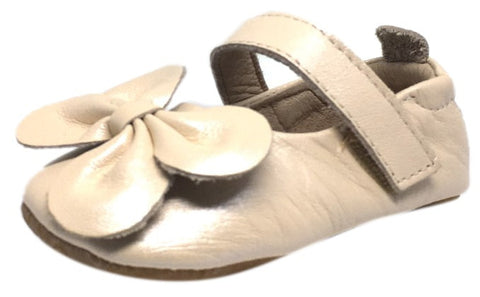 Old Soles Girl's Pearl Metallic Leather Gab Bow Hook and Loop Mary Jane Crib Walker Baby Shoe
