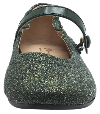 Manuela de Juan Girl's Irene Forest Green Shimmer Leather Elastic Back Mary Jane Flats
