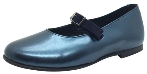 Luccini Girl's Metallic Blue Smooth Leather Mary Jane Flats with Navy Suede Buckle Hook and Loop Strap