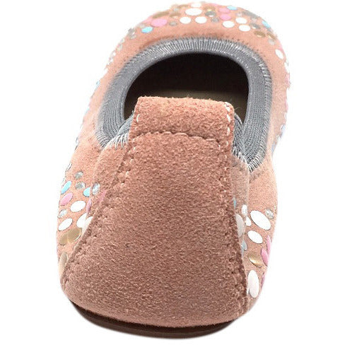 Papanatas by Eli Girl's Pink Soft Suede Gem Sparkle Polka Dot Detail Slip On Ballet Flats - Just Shoes for Kids  - 4