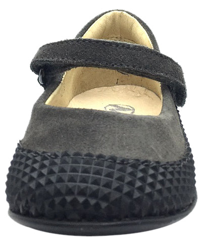 Naturino Girl's Black & Grey Single Strap Mary Jane Flat with Suede Trim
