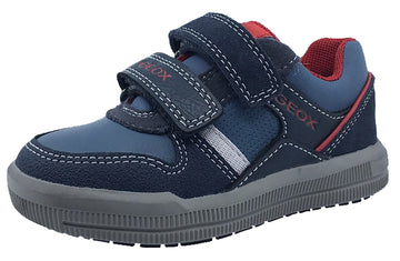 Geox Boy's J Arzach Double Velcro Hook and Loop Sneaker Shoes, Navy/Red